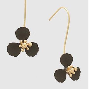 Black Enamel Flower Wire Drop Earrings